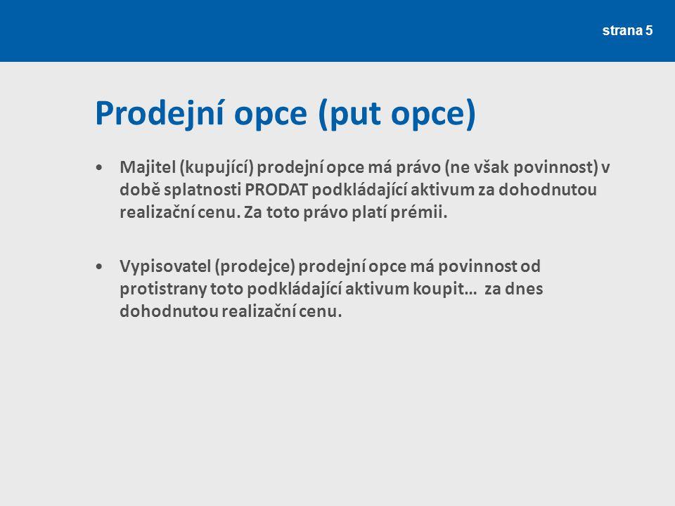 strana 6 Výsledky spekulace s kupní opcí Medvěd Býk + 200 0 - 200 2 200 2 000 2 500 Kupující opce Prodejce opce Kurz akcie /Kč/ Zisk / Ztráta /Kč/ Zdroj: Rejnuš (2010)
