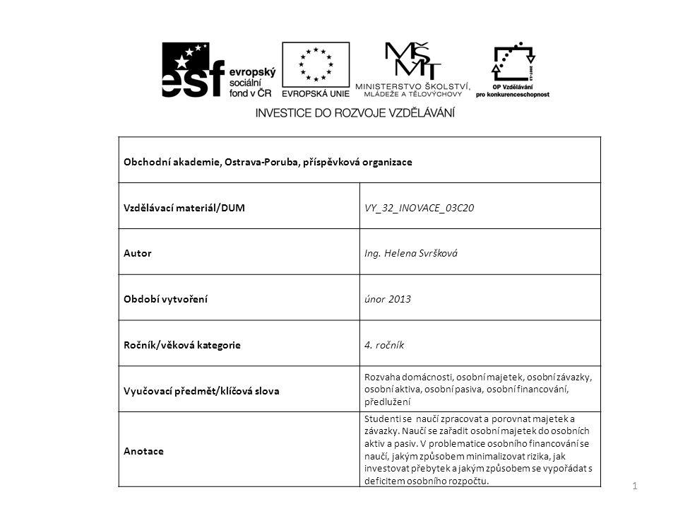 Obchodní akademie, Ostrava-Poruba, příspěvková organizace Vzdělávací materiál/DUMVY_32_INOVACE_03C20 AutorIng.