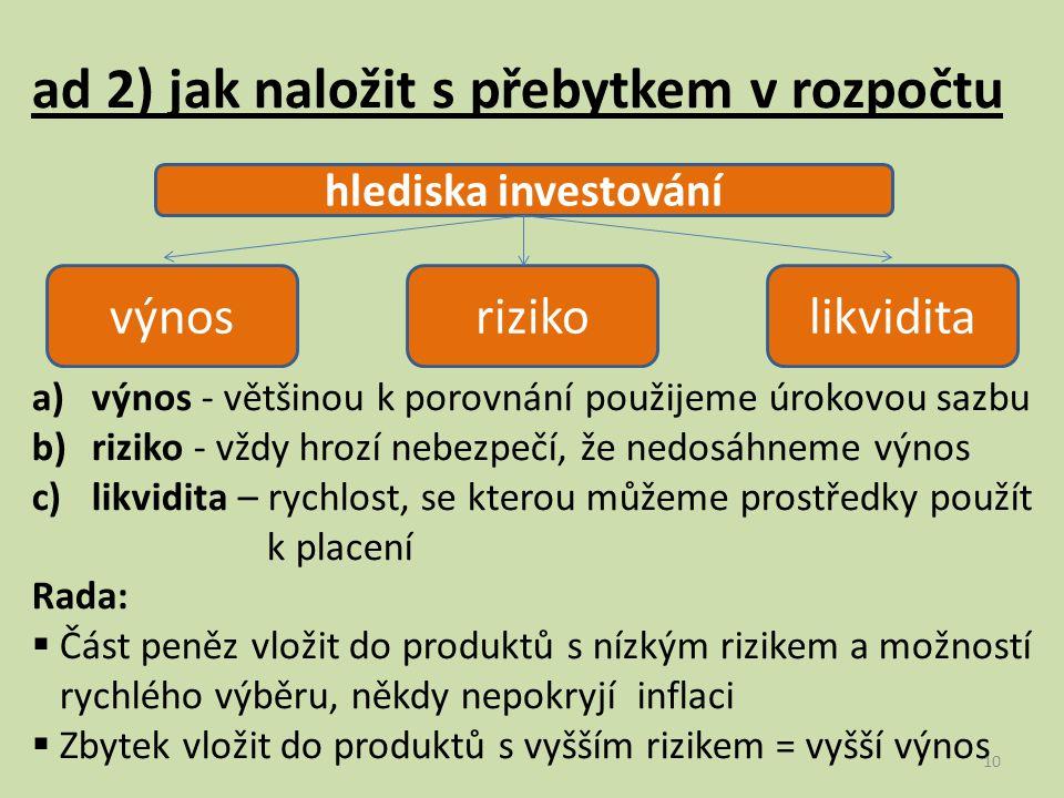 ad 2) jak naložit s přebytkem v rozpočtu a)výnos - většinou k porovnání použijeme úrokovou sazbu b)riziko - vždy hrozí nebezpečí, že nedosáhneme výnos c)likvidita – rychlost, se kterou můžeme prostředky použít k placení Rada:  Část peněz vložit do produktů s nízkým rizikem a možností rychlého výběru, někdy nepokryjí inflaci  Zbytek vložit do produktů s vyšším rizikem = vyšší výnos hlediska investování výnosrizikolikvidita 10
