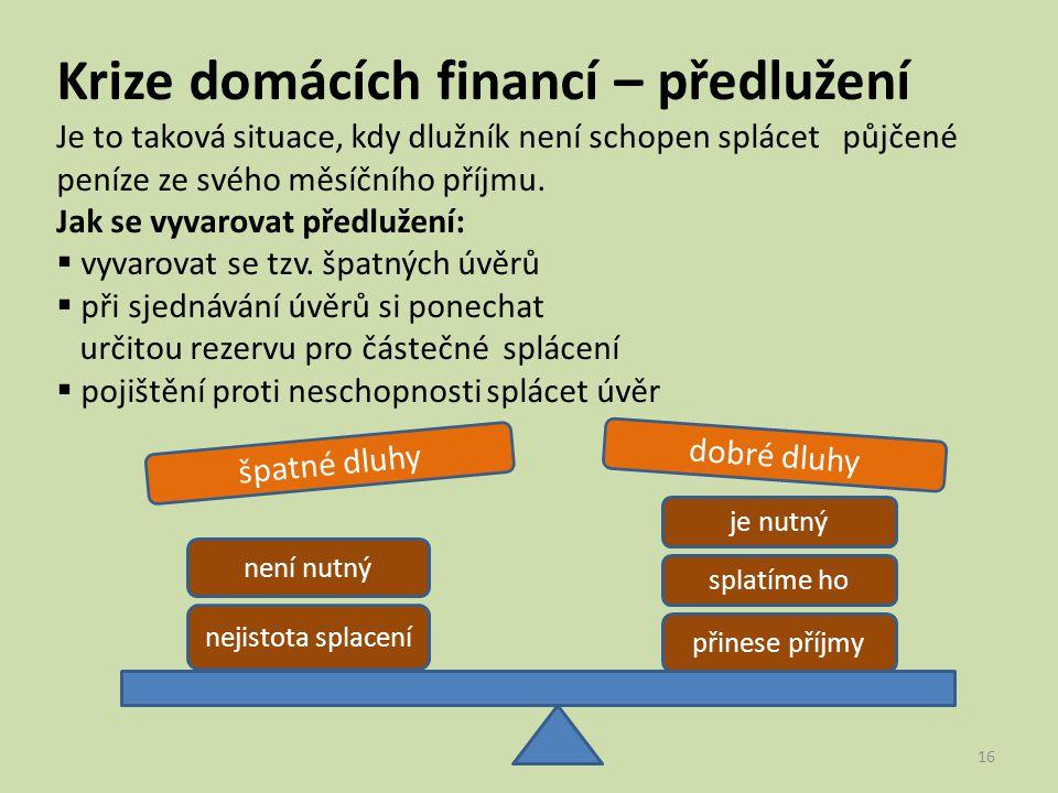 Krize domácích financí – předlužení Je to taková situace, kdy dlužník není schopen splácet půjčené peníze ze svého měsíčního příjmu.