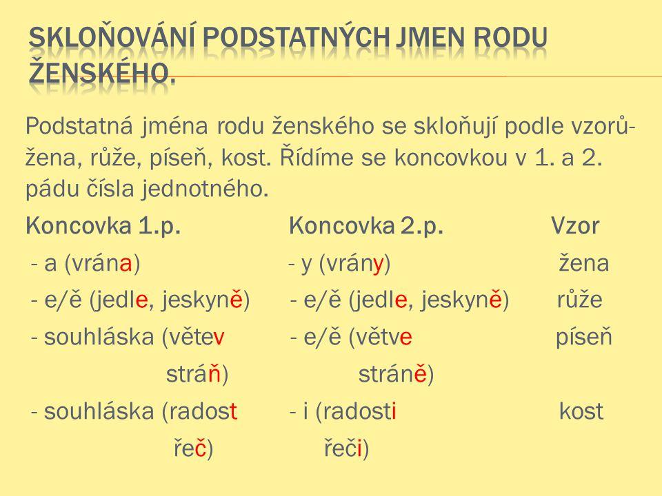 Podstatná jména rodu ženského se skloňují podle vzorů- žena, růže, píseň, kost.