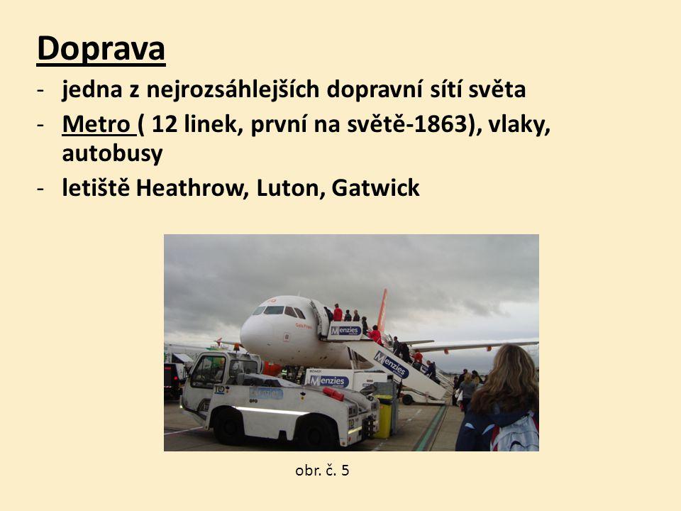 Doprava -jedna z nejrozsáhlejších dopravní sítí světa -Metro ( 12 linek, první na světě-1863), vlaky, autobusy -letiště Heathrow, Luton, Gatwick obr.