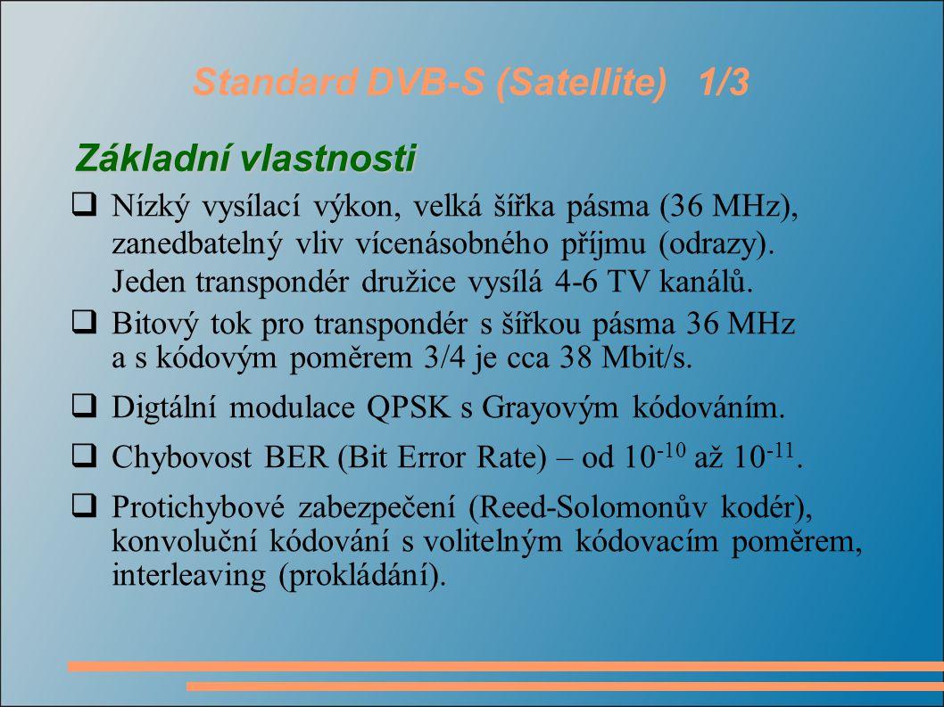 Standard DVB-S (Satellite)1/3  Nízký vysílací výkon, velká šířka pásma (36 MHz), zanedbatelný vliv vícenásobného příjmu (odrazy).