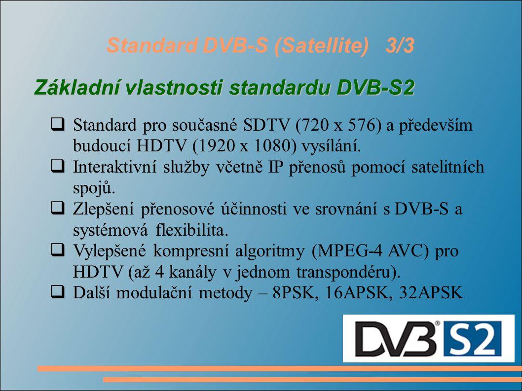 Standard DVB-C (Cable)1/2 Základní vlastnosti  Stejná šířka pásma jako TV kanály pozemního vysílání (5, 6, 7, 8 MHz)  Protichybové zabezpečení (Reed-Solomonův kodér), interleaving (prokládání).