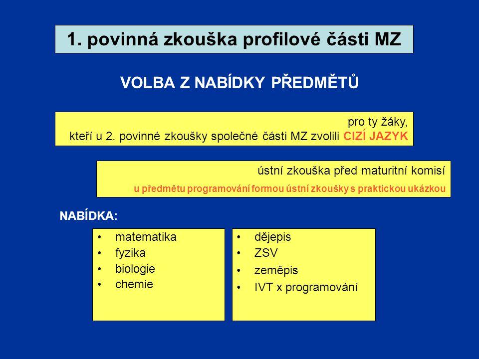 1. povinná zkouška profilové části MZ pro ty žáky, kteří u 2.