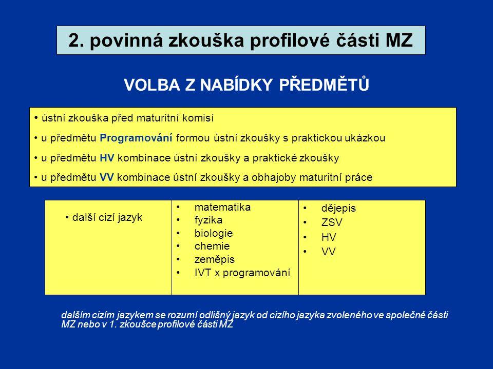 2. povinná zkouška profilové části MZ VOLBA Z NABÍDKY PŘEDMĚTŮ NABÍDKA: matematika fyzika biologie chemie zeměpis IVT x programování dějepis ZSV HV VV