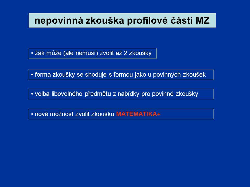 nepovinná zkouška profilové části MZ forma zkoušky se shoduje s formou jako u povinných zkoušek žák může (ale nemusí) zvolit až 2 zkoušky volba libovolného předmětu z nabídky pro povinné zkoušky nově možnost zvolit zkoušku MATEMATIKA+
