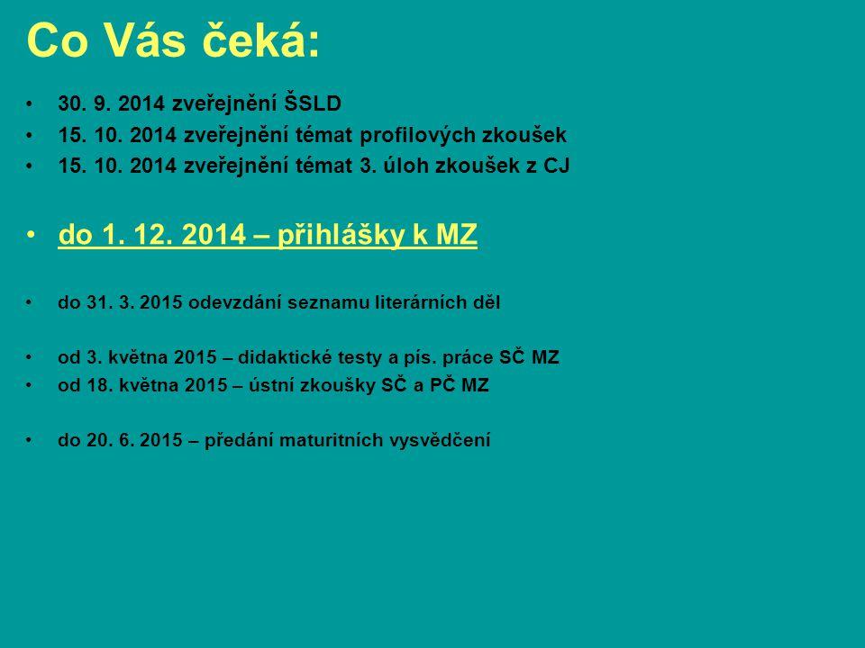 Co Vás čeká: 30. 9. 2014 zveřejnění ŠSLD 15. 10. 2014 zveřejnění témat profilových zkoušek 15. 10. 2014 zveřejnění témat 3. úloh zkoušek z CJ do 1. 12