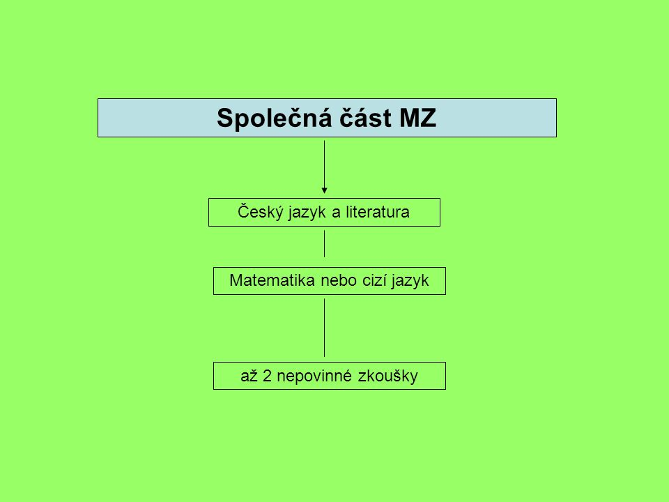 Společná část MZ Český jazyk a literatura Matematika nebo cizí jazyk až 2 nepovinné zkoušky
