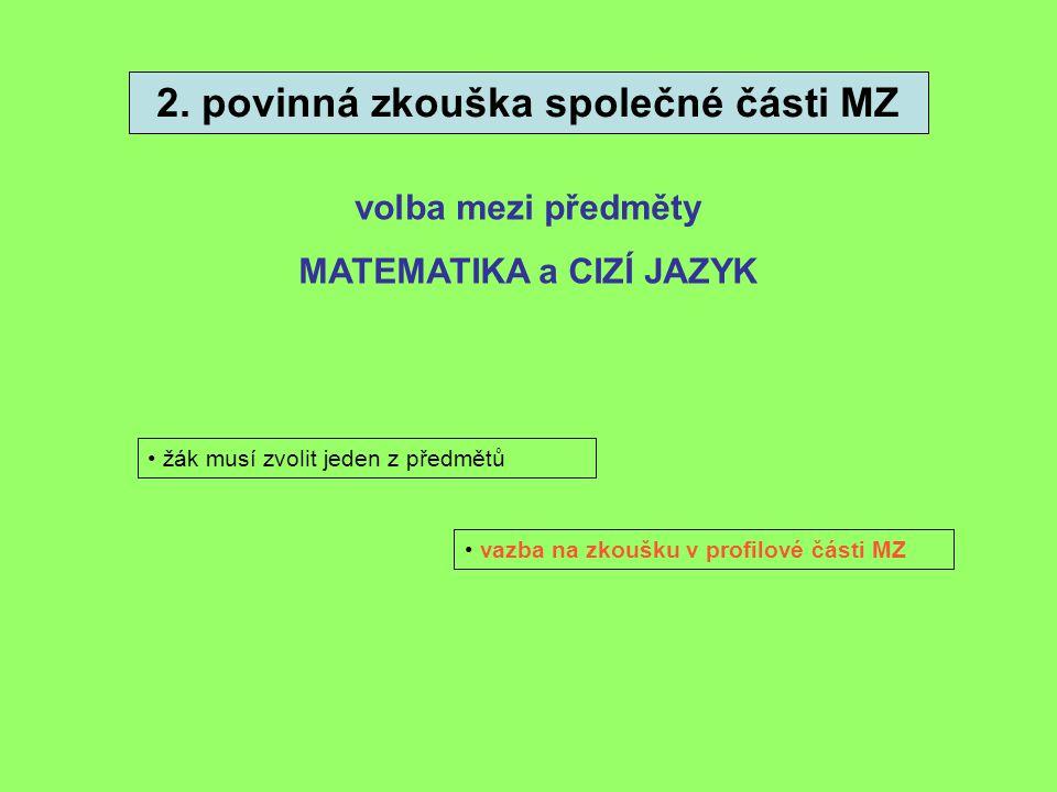 2. povinná zkouška společné části MZ volba mezi předměty MATEMATIKA a CIZÍ JAZYK žák musí zvolit jeden z předmětů vazba na zkoušku v profilové části M