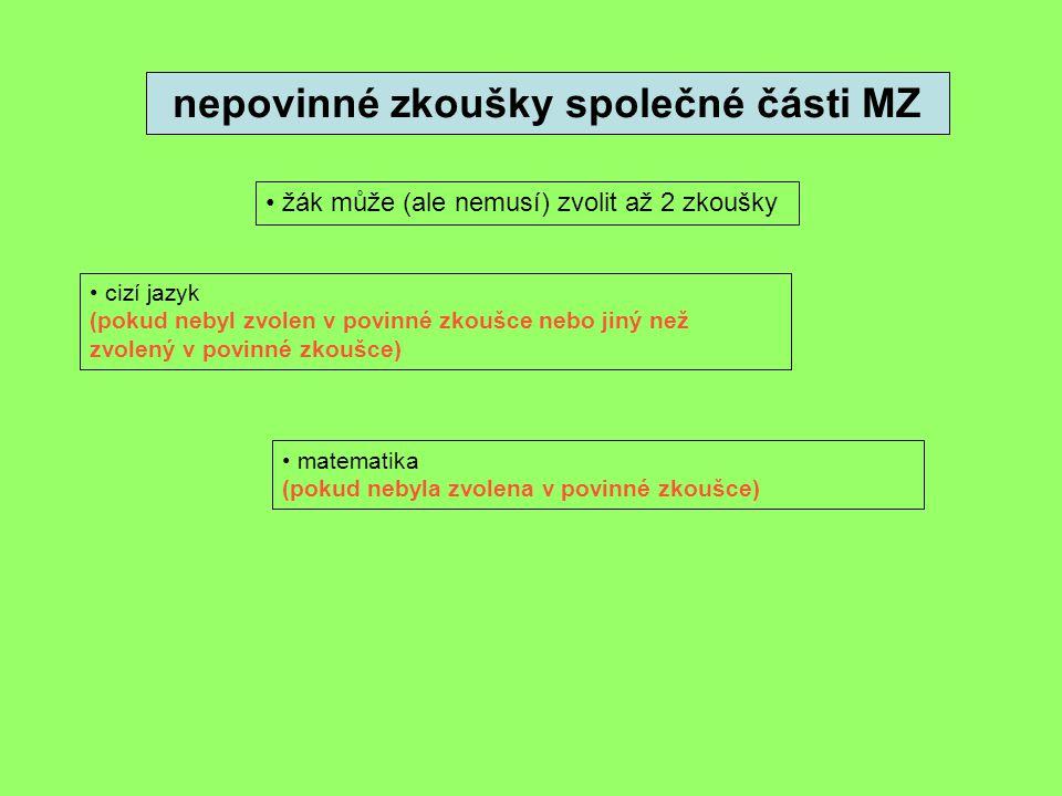 nepovinné zkoušky společné části MZ žák může (ale nemusí) zvolit až 2 zkoušky cizí jazyk (pokud nebyl zvolen v povinné zkoušce nebo jiný než zvolený v