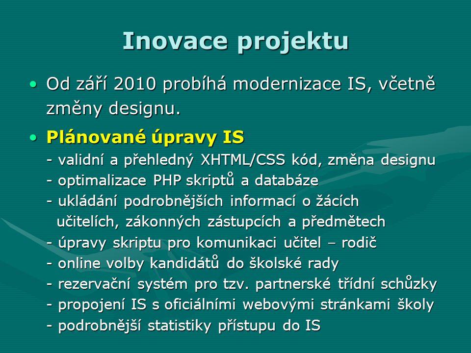 Inovace projektu Od září 2010 probíhá modernizace IS, včetně změny designu.Od září 2010 probíhá modernizace IS, včetně změny designu.