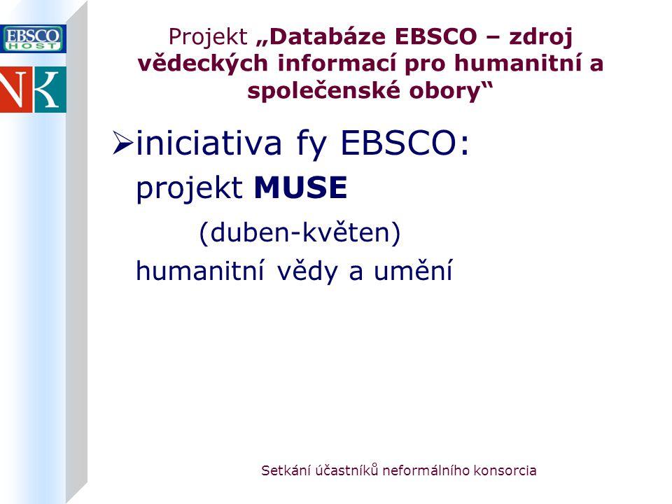 """Setkání účastníků neformálního konsorcia Projekt """"Databáze EBSCO – zdroj vědeckých informací pro humanitní a společenské obory  iniciativa fy EBSCO: projekt MUSE (duben-květen) humanitní vědy a umění"""