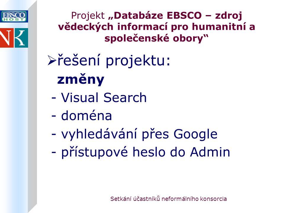 """Setkání účastníků neformálního konsorcia Projekt """"Databáze EBSCO – zdroj vědeckých informací pro humanitní a společenské obory  řešení projektu: změny - Visual Search - doména - vyhledávání přes Google - přístupové heslo do Admin"""