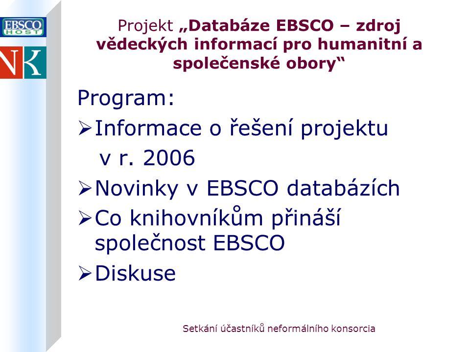 """Setkání účastníků neformálního konsorcia Projekt """"Databáze EBSCO – zdroj vědeckých informací pro humanitní a společenské obory Program:  Informace o řešení projektu v r."""