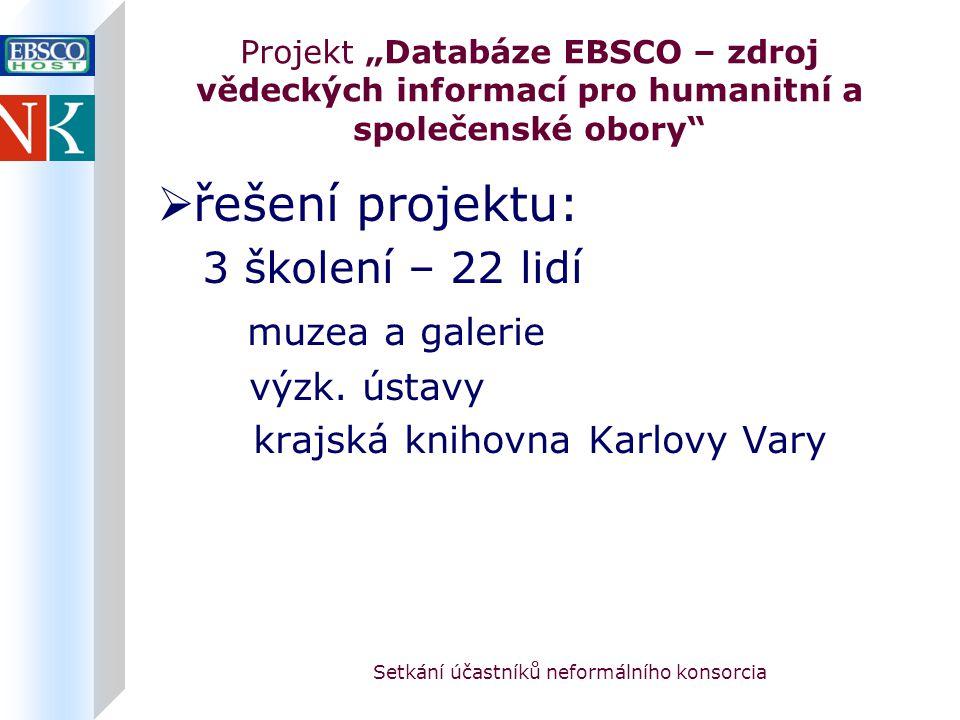"""Setkání účastníků neformálního konsorcia Projekt """"Databáze EBSCO – zdroj vědeckých informací pro humanitní a společenské obory  řešení projektu: 3 školení – 22 lidí muzea a galerie výzk."""