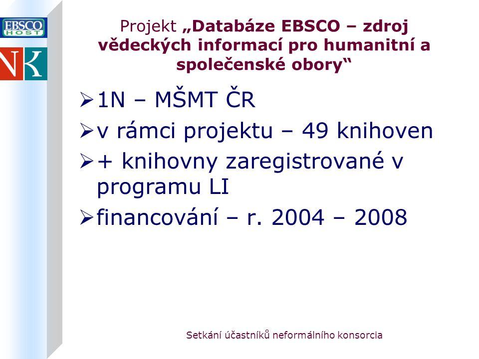 """Setkání účastníků neformálního konsorcia Projekt """"Databáze EBSCO – zdroj vědeckých informací pro humanitní a společenské obory  řešení projektu: databáze – zkušební přístupy (březen-květen) Humanities Abstracts (16) MagillOnLiterature Plus (14)"""