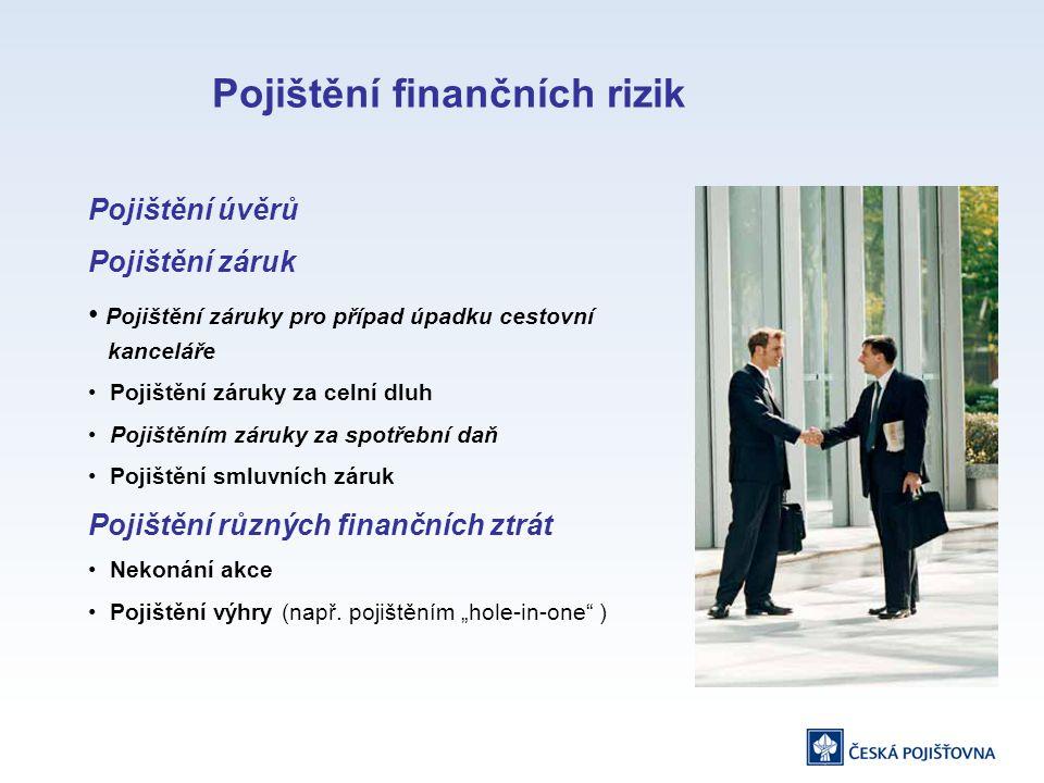 Pojištění úvěrů Pojištění záruk Pojištění záruky pro případ úpadku cestovní kanceláře Pojištění záruky za celní dluh Pojištěním záruky za spotřební daň Pojištění smluvních záruk Pojištění různých finančních ztrát Nekonání akce Pojištění výhry (např.