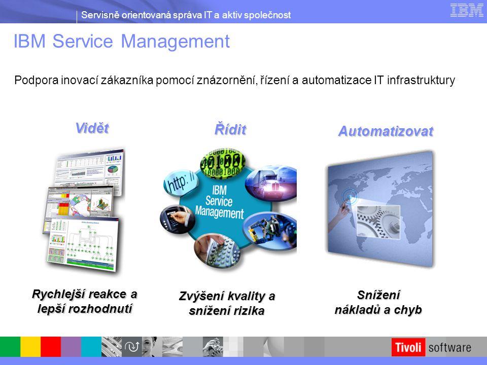 Servisně orientovaná správa IT a aktiv společnost IBM Service Management Podpora inovací zákazníka pomocí znázornění, řízení a automatizace IT infrast