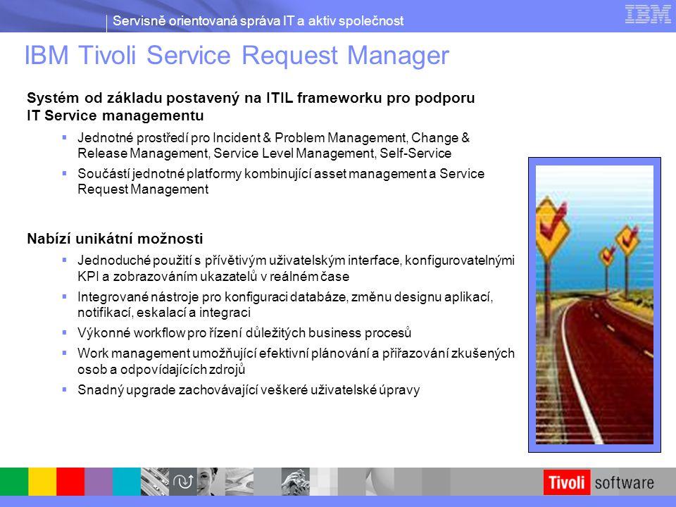 Servisně orientovaná správa IT a aktiv společnost IBM Tivoli Service Request Manager Systém od základu postavený na ITIL frameworku pro podporu IT Ser