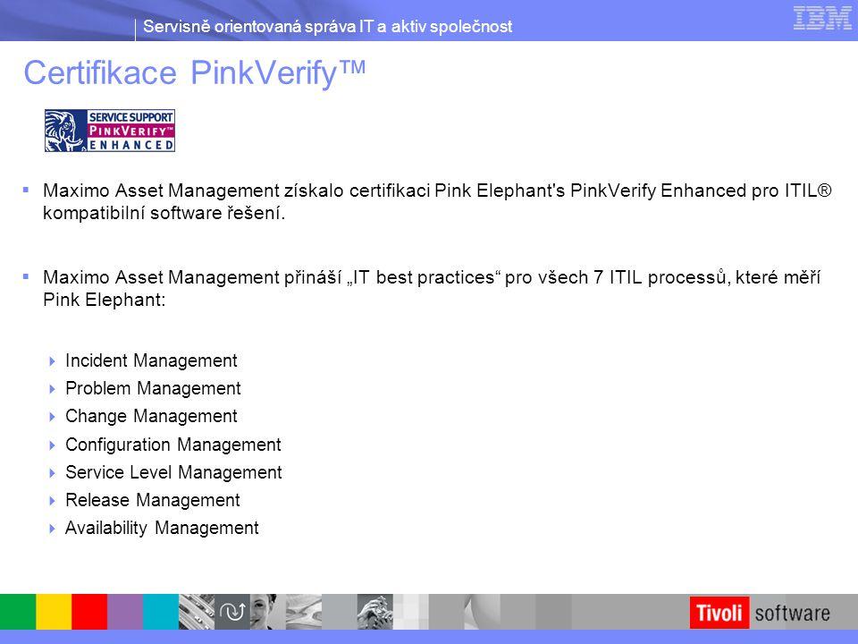 Certifikace PinkVerify™  Maximo Asset Management získalo certifikaci Pink Elephant's PinkVerify Enhanced pro ITIL® kompatibilní software řešení.  Ma