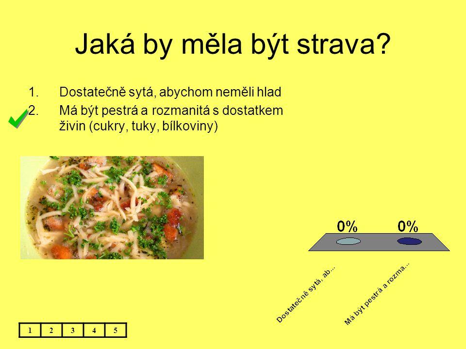 Jaká by měla být strava? 12345 1.Dostatečně sytá, abychom neměli hlad 2.Má být pestrá a rozmanitá s dostatkem živin (cukry, tuky, bílkoviny)
