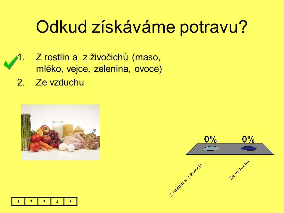 Odkud získáváme potravu? 12345 1.Z rostlin a z živočichů (maso, mléko, vejce, zelenina, ovoce) 2.Ze vzduchu