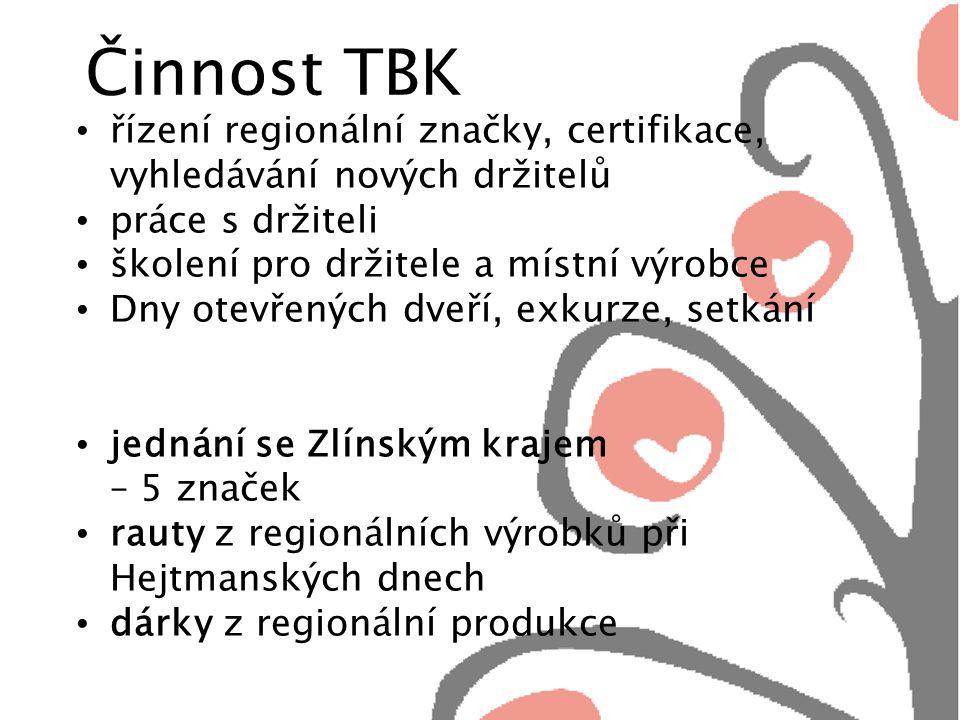 Činnost TBK řízení regionální značky, certifikace, vyhledávání nových držitelů práce s držiteli školení pro držitele a místní výrobce Dny otevřených dveří, exkurze, setkání jednání se Zlínským krajem – 5 značek rauty z regionálních výrobků při Hejtmanských dnech dárky z regionální produkce