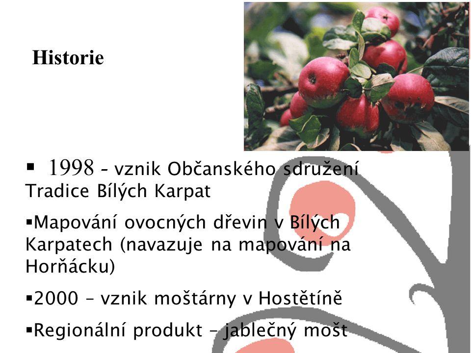 Historie  1998 - vznik Občanského sdružení Tradice Bílých Karpat  Mapování ovocných dřevin v Bílých Karpatech (navazuje na mapování na Horňácku)  2000 – vznik moštárny v Hostětíně  Regionální produkt – jablečný mošt