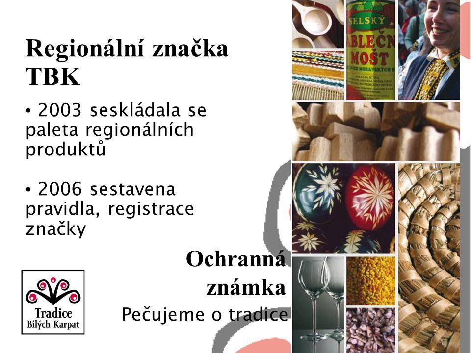 Regionální značka TBK 2003 seskládala se paleta regionálních produktů 2006 sestavena pravidla, registrace značky Ochranná známka Pečujeme o tradice