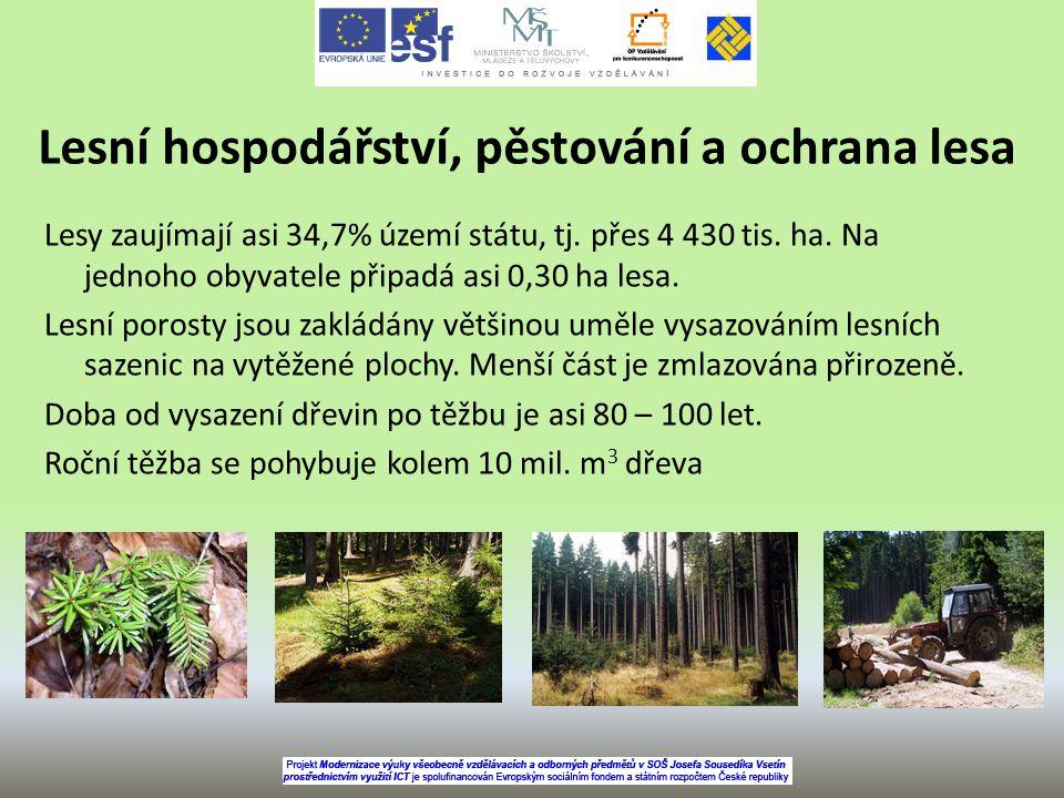 Lesní hospodářství, pěstování a ochrana lesa Lesy zaujímají asi 34,7% území státu, tj. přes 4 430 tis. ha. Na jednoho obyvatele připadá asi 0,30 ha le