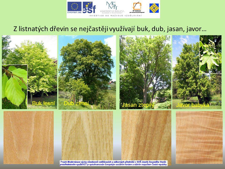 Z listnatých dřevin se nejčastěji využívají buk, dub, jasan, javor… Dub zimníBuk lesní Jasan ztepilýJavor babyka