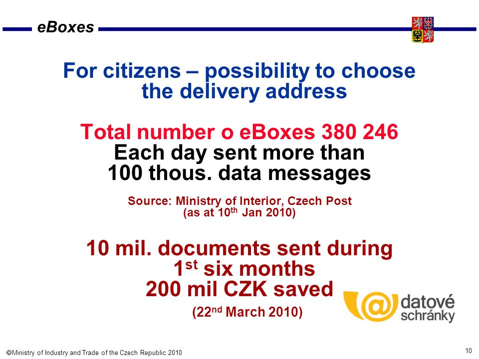 10  Ministry of Industry and Trade of the Czech Republic 2010 eBoxes For citizens – possibility to choose the delivery address Total number o eBoxes 380 246 Each day sent more than 100 thous.
