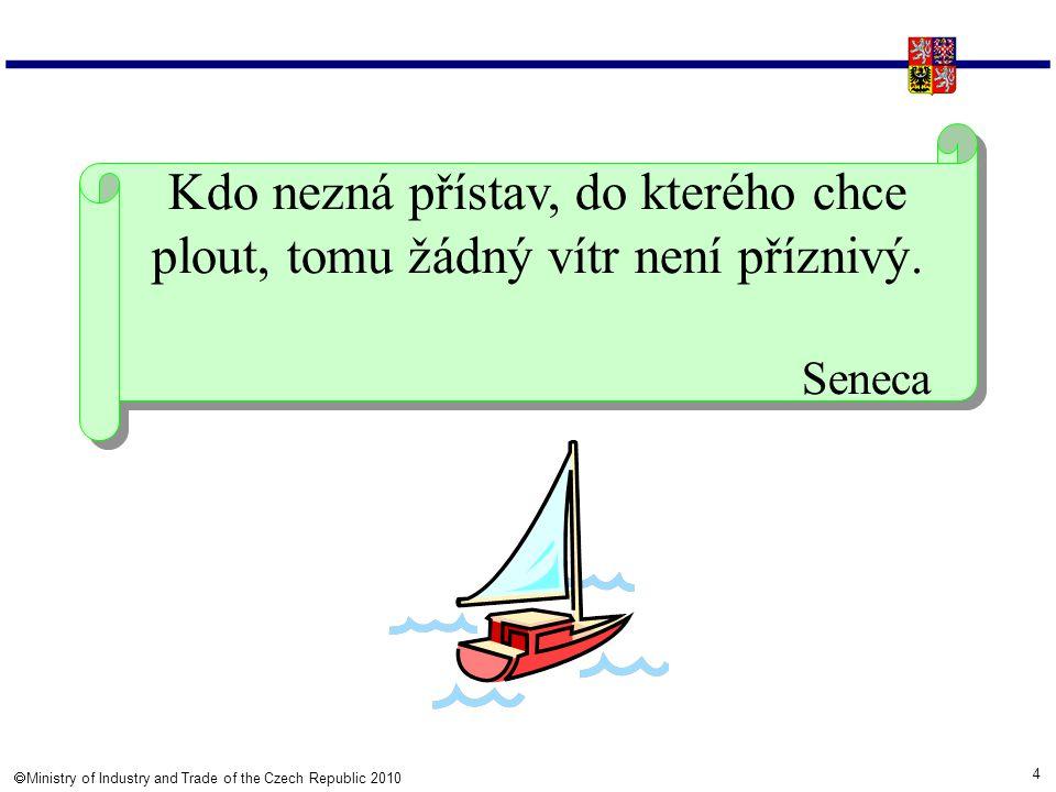 4  Ministry of Industry and Trade of the Czech Republic 2010 Kdo nezná přístav, do kterého chce plout, tomu žádný vítr není příznivý. Seneca Kdo nez
