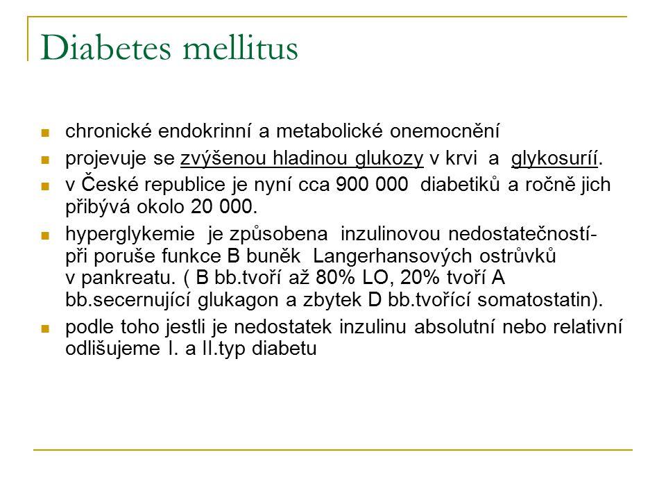 Diabetes mellitus chronické endokrinní a metabolické onemocnění projevuje se zvýšenou hladinou glukozy v krvi a glykosuríí. v České republice je nyní