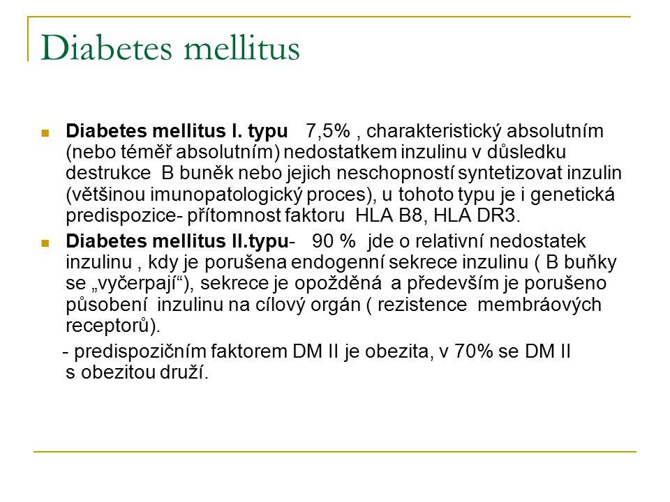 Diabetes mellitus Diabetes mellitus I. typu 7,5%, charakteristický absolutním (nebo téměř absolutním) nedostatkem inzulinu v důsledku destrukce B buně
