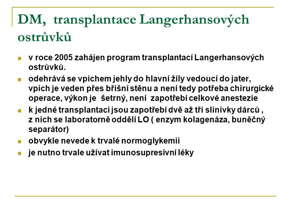 DM, transplantace Langerhansových ostrůvků v roce 2005 zahájen program transplantací Langerhansových ostrůvků. odehrává se vpichem jehly do hlavní žíl