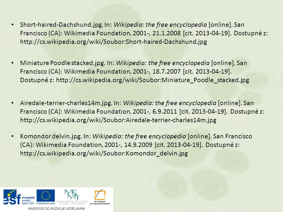 Short-haired-Dachshund.jpg. In: Wikipedia: the free encyclopedia [online]. San Francisco (CA): Wikimedia Foundation, 2001-, 21.1.2008 [cit. 2013-04-19