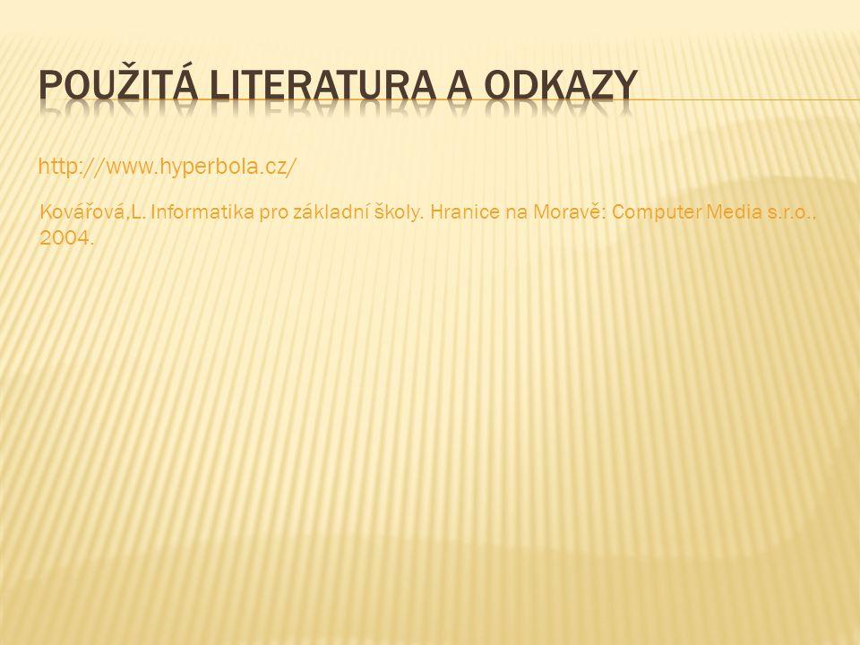 http://www.hyperbola.cz/ Kovářová,L. Informatika pro základní školy. Hranice na Moravě: Computer Media s.r.o., 2004.