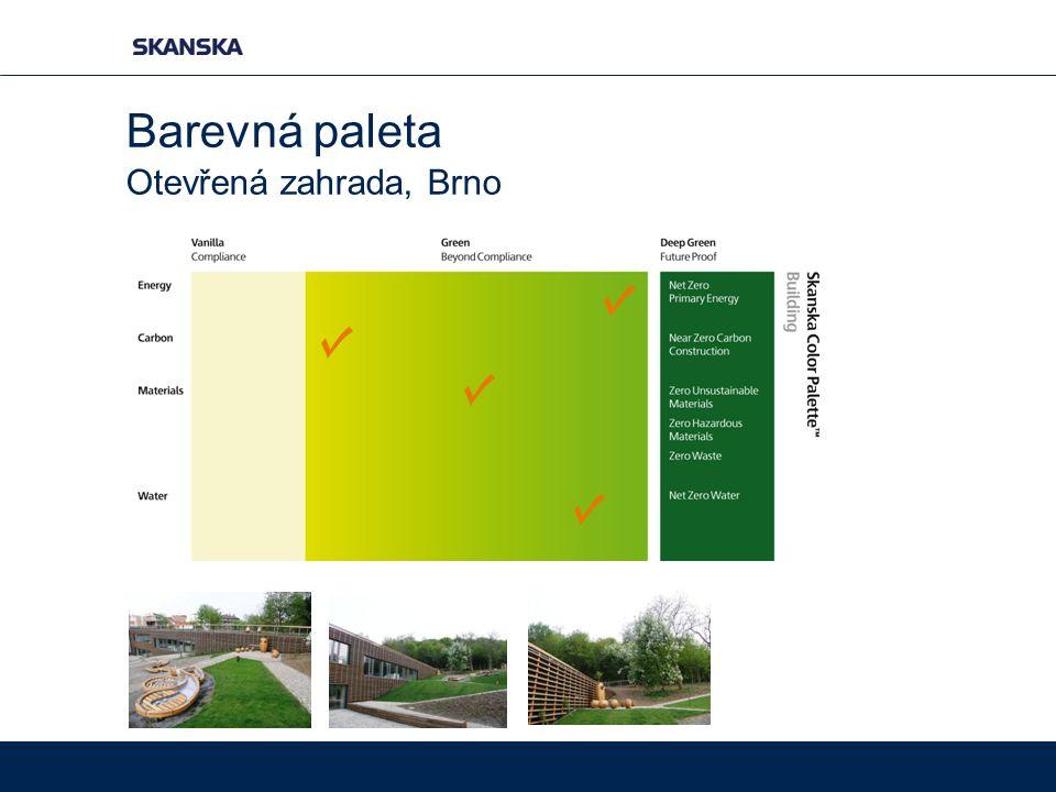 Otevřená zahrada, Brno Barevná paleta