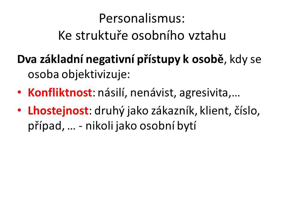 Personalismus: Ke struktuře osobního vztahu Dva základní negativní přístupy k osobě, kdy se osoba objektivizuje: Konfliktnost: násilí, nenávist, agres
