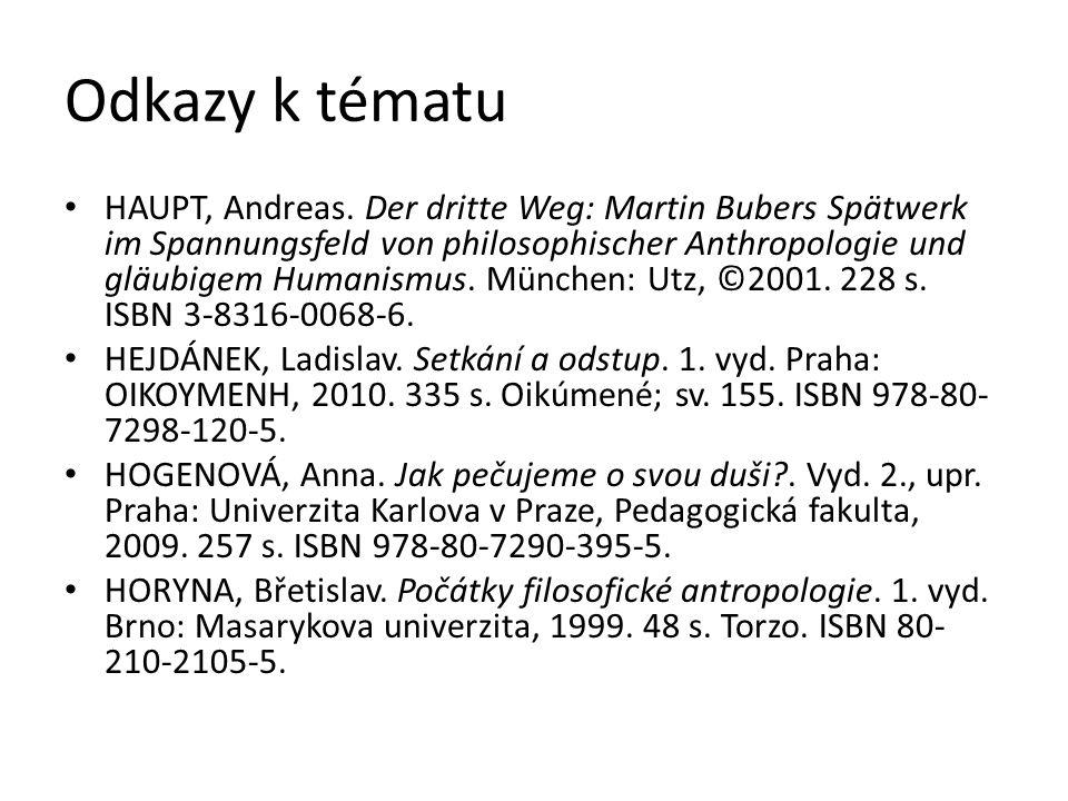 Odkazy k tématu HAUPT, Andreas. Der dritte Weg: Martin Bubers Spätwerk im Spannungsfeld von philosophischer Anthropologie und gläubigem Humanismus. Mü