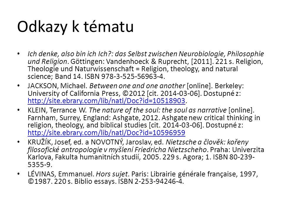 Odkazy k tématu Ich denke, also bin ich Ich?: das Selbst zwischen Neurobiologie, Philosophie und Religion. Göttingen: Vandenhoeck & Ruprecht, [2011].