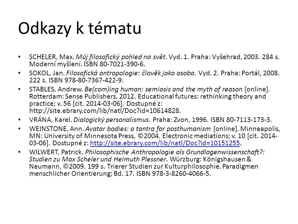 Odkazy k tématu SCHELER, Max. Můj filosofický pohled na svět. Vyd. 1. Praha: Vyšehrad, 2003. 284 s. Moderní myšlení. ISBN 80-7021-390-6. SOKOL, Jan. F
