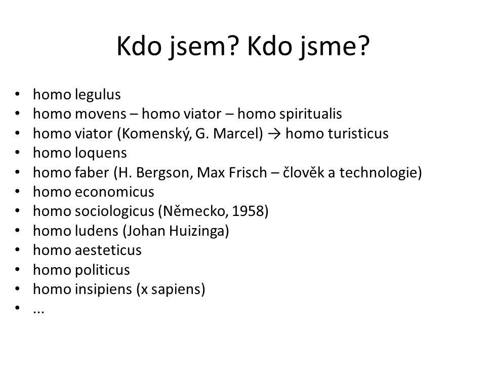 Kdo jsem? Kdo jsme? homo legulus homo movens – homo viator – homo spiritualis homo viator (Komenský, G. Marcel) → homo turisticus homo loquens homo fa