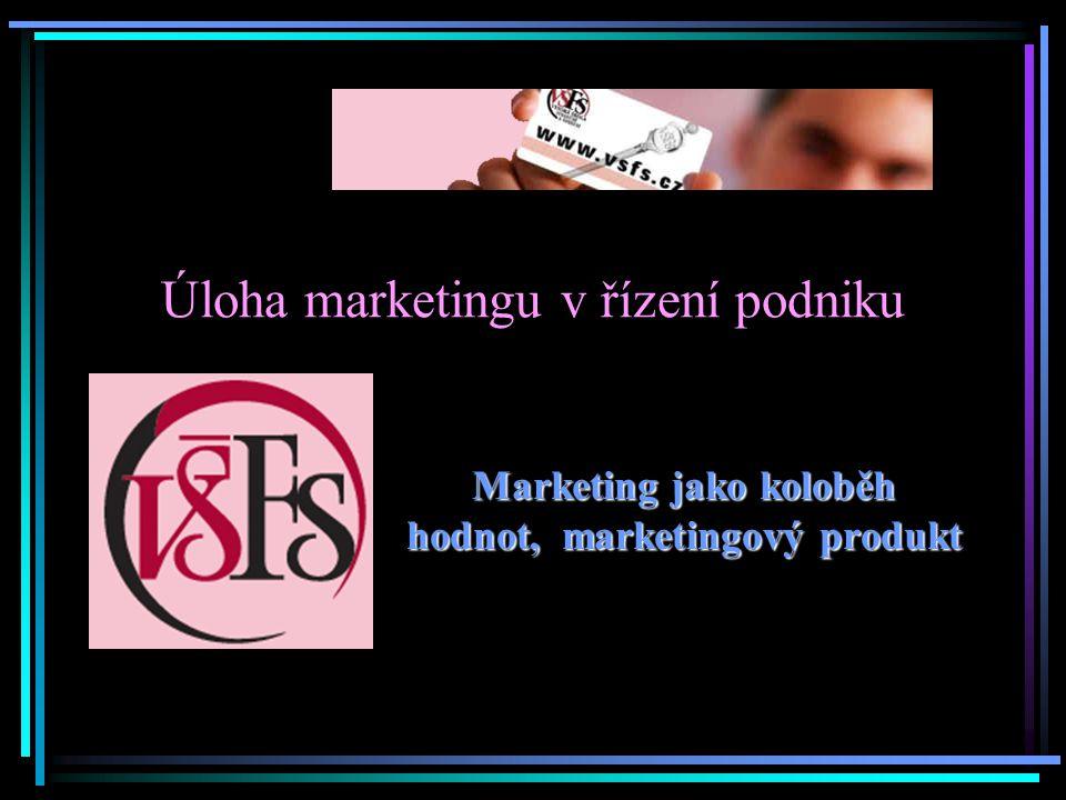 Úloha marketingu v řízení podniku Marketing jako koloběh hodnot, marketingový produkt