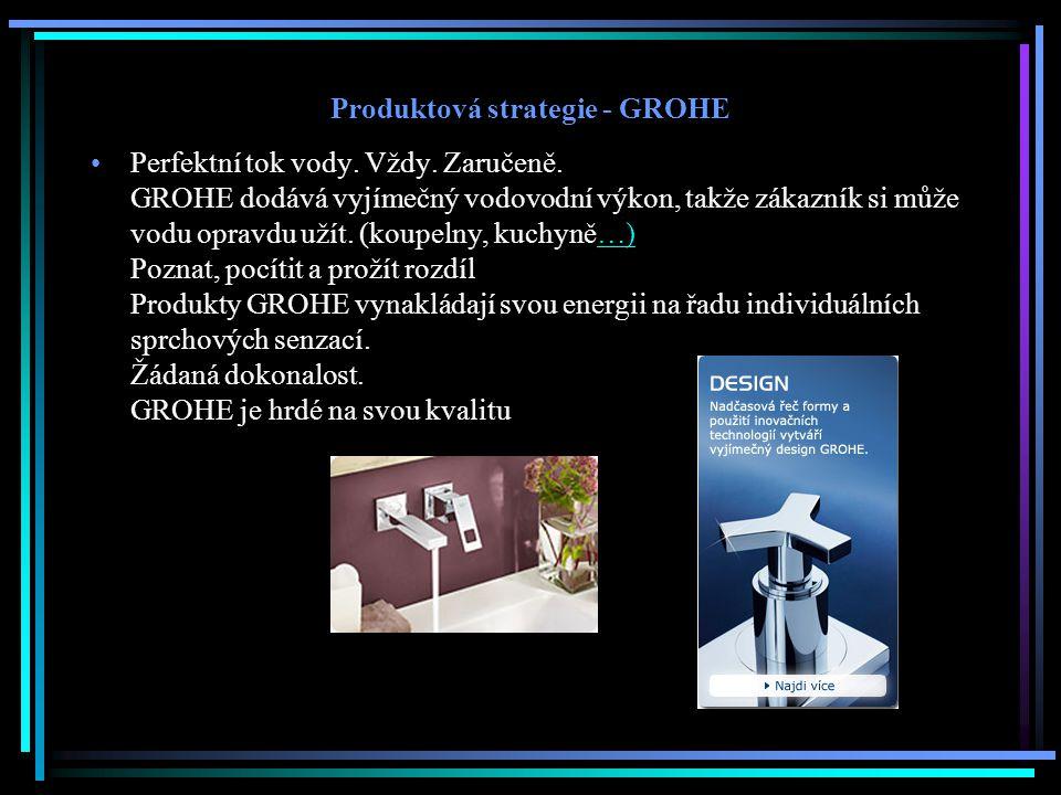 Produktová strategie - GROHE Perfektní tok vody. Vždy. Zaručeně. GROHE dodává vyjímečný vodovodní výkon, takže zákazník si může vodu opravdu užít. (ko