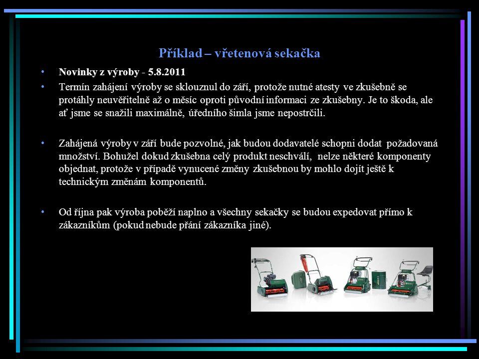 Příklad – vřetenová sekačka Novinky z výroby - 5.8.2011 Termín zahájení výroby se sklouznul do září, protože nutné atesty ve zkušebně se protáhly neuv