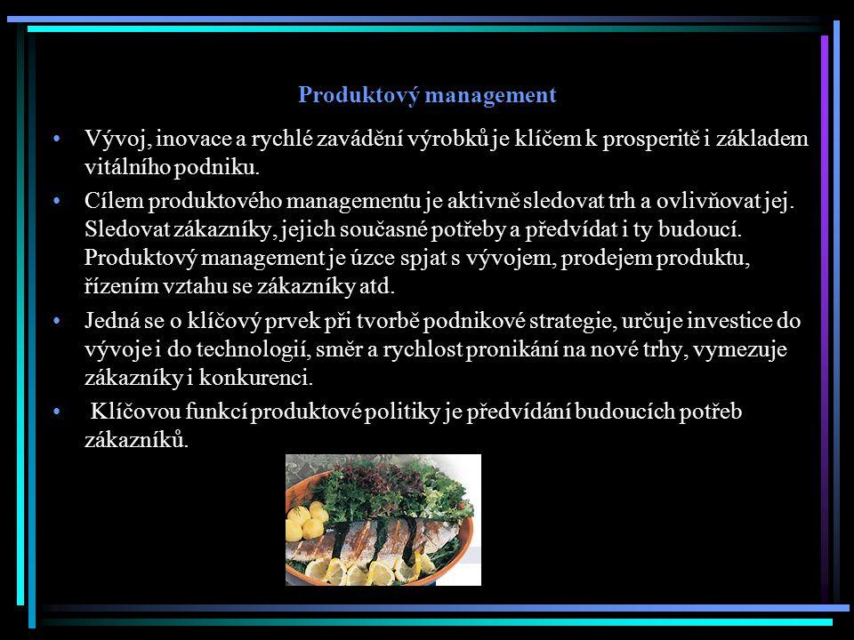 Produktový management Vývoj, inovace a rychlé zavádění výrobků je klíčem k prosperitě i základem vitálního podniku. Cílem produktového managementu je