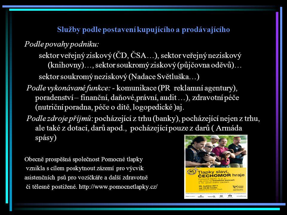 Služby podle postavení kupujícího a prodávajícího Podle povahy podniku: sektor veřejný ziskový (ČD, ČSA…), sektor veřejný neziskový (knihovny)…, sekto
